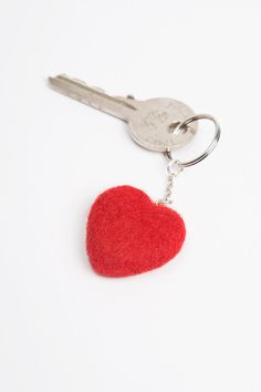 Wool Needle Felted Keychain Bag Charm with Red by LiviasDreams