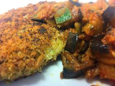 DINNER: Perfectly crispy gluten-free Parmesan & Glutino crackers crusted turkey cutlets w/ eggplant, onion, zucchini and tomato hash!!   (Recipe in my binder)