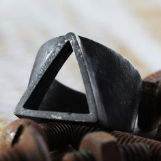 Mens Black Ring Triangle Rings Oxidized by carpediemjewellery