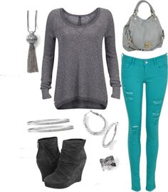 "POLYVORE COLORED JEAN OUTFITS | Casual sweater and colored jeans"" by ... 