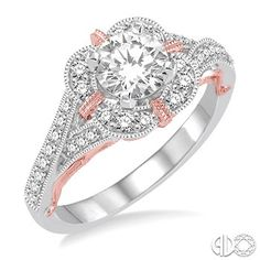 I Do Collection: Product Detail- 1/3 Ctw Diamond Semi-mount Ring in 14K White and Pink Gold
