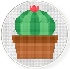 Charts Club Members Only: Cactus Bloom Cross Stitch Pattern