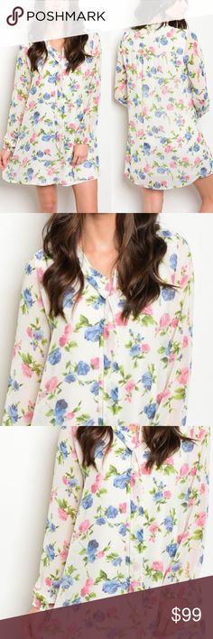🚨NEW🚨 Tie Up Neck Long Sleeve Floral Shift Dress We've found you the perfect summer Shift dress! Gorgeous Ivory with blue,  pink, and green floral print. Ties in front, has long sleeves with elastic at the ends. Made in the USA. Bust on a Large is 38 inches, waist is 46 inches and length is 35 inches. Small fits 0-2, Medium fits 4-6, Large fits 8-10. Dresses Long Sleeve