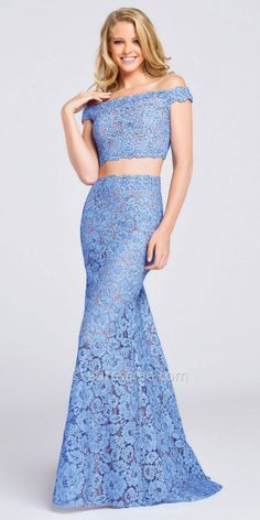 Floral Lace Off The Shoulder Two Piece Prom Dress By Ellie Wilde for Mon Cheri #edressme