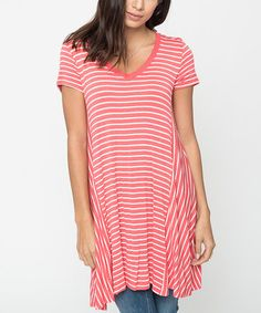 Another great find on #zulily! Coral & White Stripe Tunic #zulilyfinds