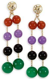 #Jewelry #Earrings 14k Gold Lucky Onyx Agate Burma Jade Beads Dangle Earrings