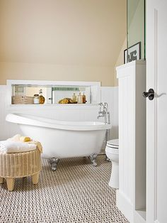 Gather inspiration for your next bathroom remodel from these extravagant tubs. Make your bathroom a relaxing retreat with an oversize tub, a soothing color scheme and lots of natural lighting.