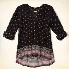 Patterned Boho Shirt chez Hollister Size XS  http://www.hollisterco.ca/shop/ca/girls-tops/patterned-boho-shirt-4886615
