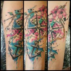 Watercolor compass, anchor, and blossoms tattoo. - Tattoos by Garry DeRonda - Garter Tattoo, Watercolor Anchor Tattoo, Partner Tattoos, Bow Tattoo, Watercolor Compass Tattoo, Key Tattoos, Ink Tattoo, Anker Tattoo, Blossom Tattoo