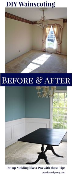 Dining Room Before and After Wainscoting. Get the tips for putting up molding like a pro on penderandpeony.com DIY Wainscoting, Home Decor, Dining Room Ideas, Chair rail