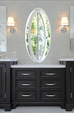 Pivoting Round Window Design Ideas, Pictures, Remodel and Decor Bathroom Windows, Bathroom Wall Decor, Bathroom Cabinets, Bath Decor, Bathroom Interior, Bathroom Ideas, House Windows, Windows And Doors, Oval Windows
