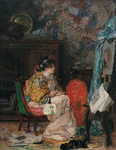 Dans l'Atelier - Vicente Palmaroli González - (Spanish: 1834-1896)