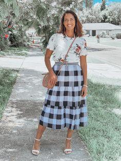 Buffalo Plaid Tiered Midi Skirt | Granola and Grace in buffalo plaid skirt and floral top. Plaid And Leopard, H&m Tops, Plaid Skirts, Pattern Mixing, Buffalo Plaid, Affordable Fashion, Granola, Talbots, Spring Summer Fashion