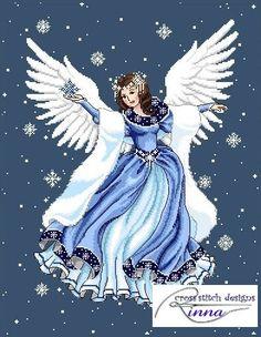 Winter Angel Cross Stitch Pdf Pattern by CrossStitchRinna on Etsy