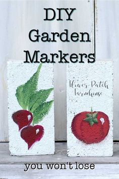 easy DIY garden markers you can create from bricks. The best DIY garden markers, fun, beautiful and hard to lose. Great for beginner gardeners and a fun craft to make with the kids. #diygarden #beginnergardening