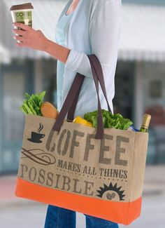 Awesome Grasslands Road 'Coffee' Tote is perfect! #zulilyfinds #GrasslandsRoad #Large #Fabric #Strong #Burlap