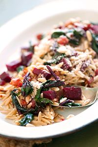 whole wheat orzo with beets pancetta caramelized onions more beets ...