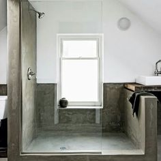 Concrete fixtures are very popular in modern interior design because they define this style so well. These days concrete as a material is very popular and modern. Concrete bathroom designs are very… Concrete Shower, Concrete Bathroom, Poured Concrete, Bad Inspiration, Bathroom Inspiration, Bathroom Ideas, Bathroom Designs, Shower Ideas, Modern Shower