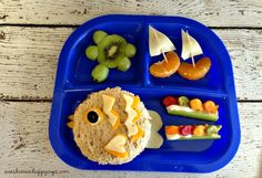 "Under the Sea lunch - tuna ""fish"" sandwich, kiwi and grape turtle, goldfish ""swimming"" in a river, and fruity sailboats :) #BumbleBeeB2S"
