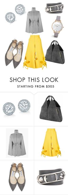 """""""Yellow and Grey"""" by giannilachica ❤ liked on Polyvore featuring Ellsworth & Ivey, Rosie Assoulin, Jimmy Choo, Balenciaga and Olivia Burton"""