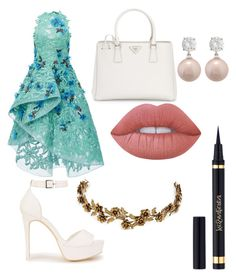 """Untitled #18"" by kellysiahalim on Polyvore featuring Monique Lhuillier, Nly Shoes, Prada, Lime Crime and Jennifer Behr"