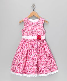 Pink Floral Lace Dress - Girls | zulily