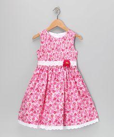 Pink Floral Lace Dress - Girls | zulily