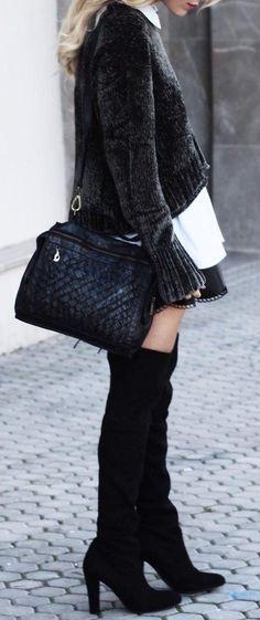 #thanksgiving #fashion · Black Jacket // Black Leather Shoulder Bag // Black Over The Knee Boots // White Shirt
