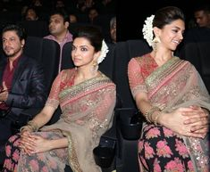 In Chennai for the audio launch of Kochadaiiyaan, Deepika picked a Sabyasachi sari for her appearance. Wearing flowers in her hair, she finished out the look with Amrapali earrings. She looked lovely!