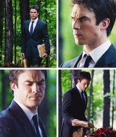 Damon saying goodbye to Bonnie. Why does he have to be so attractive at such a sad moment!?!?!?