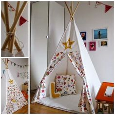 Tipi z.T. aus alten Vorhängen / Teepee partly made from old curtains / Upcycling