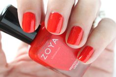 Zoya Paradise Sun Swatches Aphrodite Red Shimmer Nail Polish #EverydayZoya