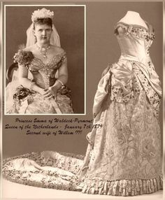 Historic Wedding Dress _ Princess Emma of Waldeck - Pyrmont  * & * Alexandra Feodorovna (Alix of Hesse)