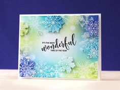STAMPtember® w/ SSS using Avery Elle-Christmas Cheer stamp set & dies. Used watercolor paper. Stamped snowflakes w/ versamark, then clear EP. Distress ink colors- twisted citron,cracked pistachio, mermaid lagoon & blueprint sketch.