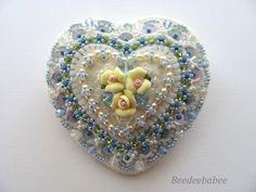 Felt Heart Pin / Heart Pin / Beaded Pin by Beedeebabee on Etsy, $44.00