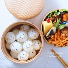 簡単!こむすび君のお弁当<キャラ弁> - Food and Drinks - Bento Ideas Japanese Bento Box, Japanese Food Art, Sushi Recipes, Baby Food Recipes, Food Art Bento, Bento Kids, Cute Food Art, Kawaii Bento, Cute Desserts