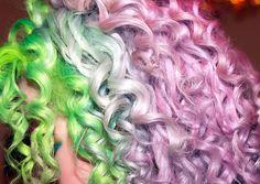 green, purple, hair, curly