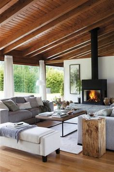 Startling Ideas: Living Room Remodel Before And After French Doors living room remodel ideas french country.Living Room Remodel On A Budget Brick Fireplaces living room remodel on a budget awesome.Living Room Remodel On A Budget Brick Fireplaces. Cozy Living Rooms, Home And Living, Living Room Decor, Small Living, Modern Living, Dining Rooms, Living Area, Sala Tropical, Modern Tropical