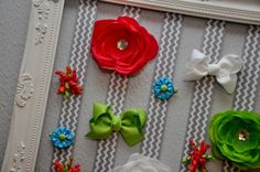 DIY Bow Holder - Take an ornate frame, remove glass and add ribbon! #nurserydecor #babygirl