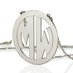 Monogram necklace 1 inch Personalized by PersonalizedNecklace