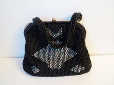 Corde Black Beaded Purse Vintage Handbag by EraAntiquesandFinds Black Silk, Black Metal, Gold Lame, Vintage Outfits, Vintage Clothing, Beaded Purses, Plastic Beads, Vintage Handbags, Shape Patterns
