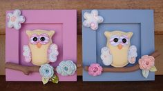 cutie for a cutie's room (work for both sexes) Felt Owls, Felt Animals, Baby Crafts, Felt Crafts, Felt Finger Puppets, Animal Sewing Patterns, Felt Pictures, Fondant Figures, Decoupage