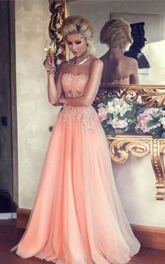 2016 Beautiful Prom Dress, Peach Tulle Prom Dress,