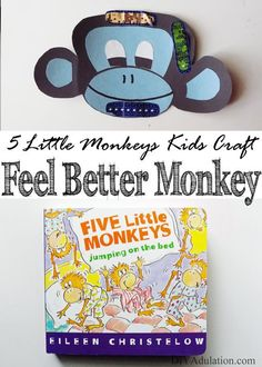 Kids love reading 5 Little Monkeys Jumping on the Bed. Now you can make it a fun learning and craft activity for them. Let your kiddos play doctor and put band-aids on their mischievous monkeys with this easy and fun Feel Better Monkey Kids Craft.