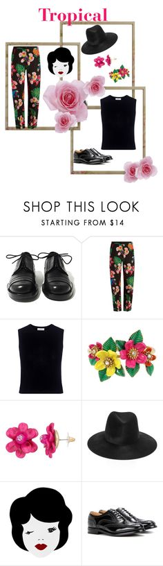 """Tropical 🌴"" by jostockton ❤ liked on Polyvore featuring Achilles Ion Gabriel, Valentino, A.L.C., Betsey Johnson, Janessa Leone and Church's"