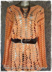 Blusa em croche manga longa - Modelo AREZZO   Manequim 44 com comprimento de 90cm.   Toda trabalhada com leques de ponto altos duplos. ...