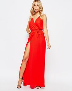 Love | Love Plunge Front Wrap Maxi Dress at ASOS