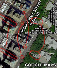 """According to Google Earth, this particular aerial photograph of City Hall was taken on the 3rd of June, 2011, one month before the Occupy Wall Street initiative even began.    I have no strong opinions regarding what these people are protesting about. I'm sure they believe their cause is just and I respect their right to make a stand. I do however find it supremely ironic that a group who is supposedly protesting about corruption and lies would produce such a blatant piece of propaganda."""
