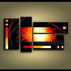 Huge Modern Abstract Painting Hand Painted Oil Painting Stretched Ready To Hang Abstract. This 4 panels canvas wall art is hand painted by Bo Yi Art Studio, instock - $128. To see more, visit OilPaintingShops.com