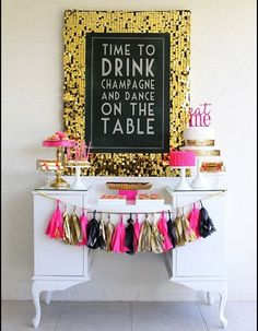 Pink + Black + Gold Party: Ribbon Tassels, Cake Stands, & Sequins (I put this on the party board, but really I just want my house to look like this all the time) cute for bachelorette party!!!!!!!!!
